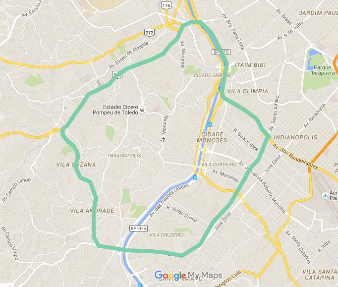 Mapa da área de entrega